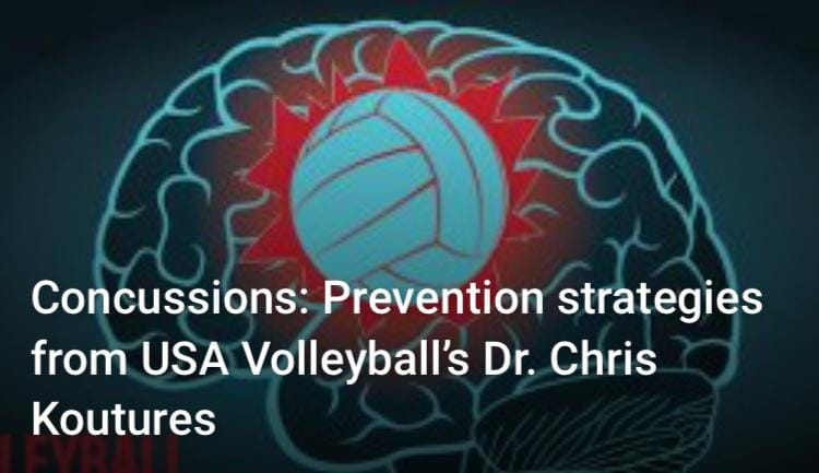 Volleyball Concussions: Picture of a volleyball and a brain