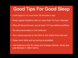 Concussion sleep problems: slide with list of tips for good sleep