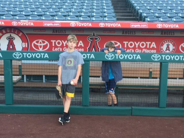 Kids Shoulder Injuries: 2 kids get ready to play catch at Angel Stadium