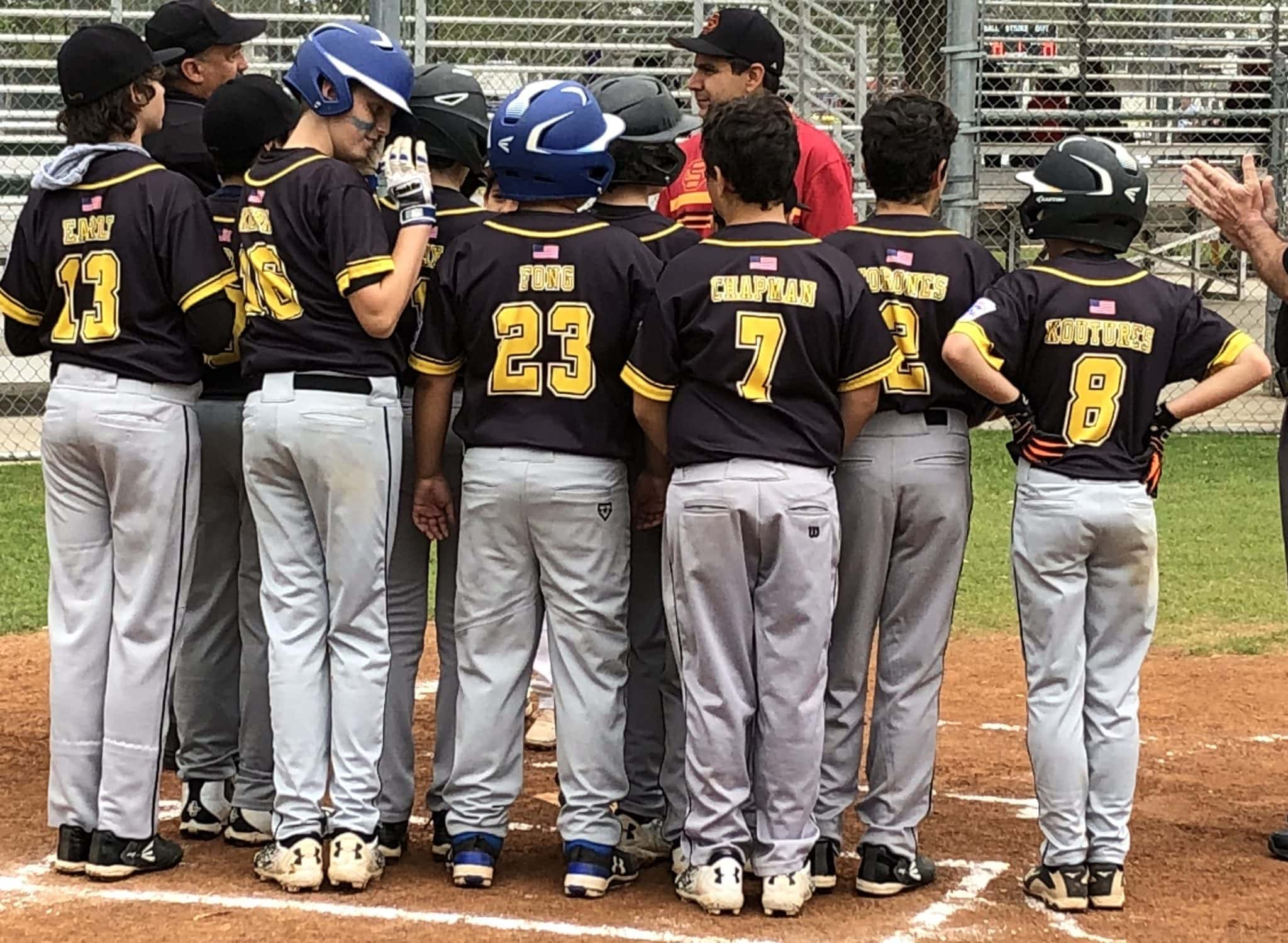 Delayed puberty: group of young baseball players meeting before a game